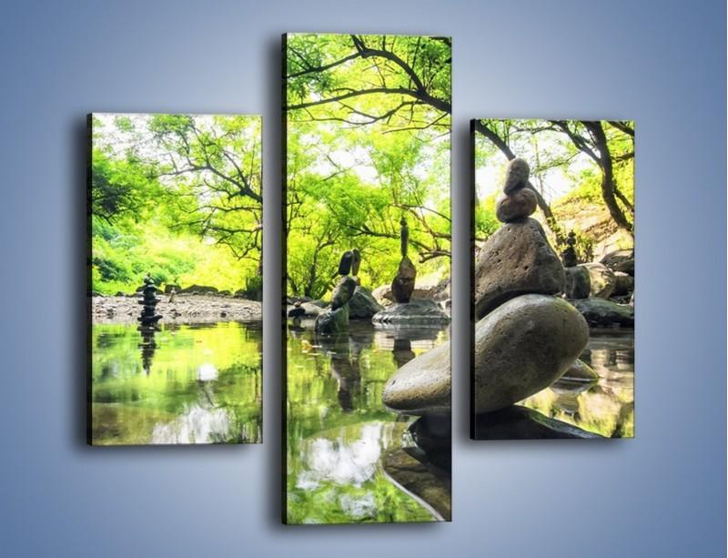 Obraz na płótnie – Kamienne piramidy na wodzie – trzyczęściowy KN068W3