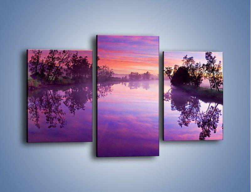 Obraz na płótnie – Fiolet w wodzie i na niebie – trzyczęściowy KN1046W3