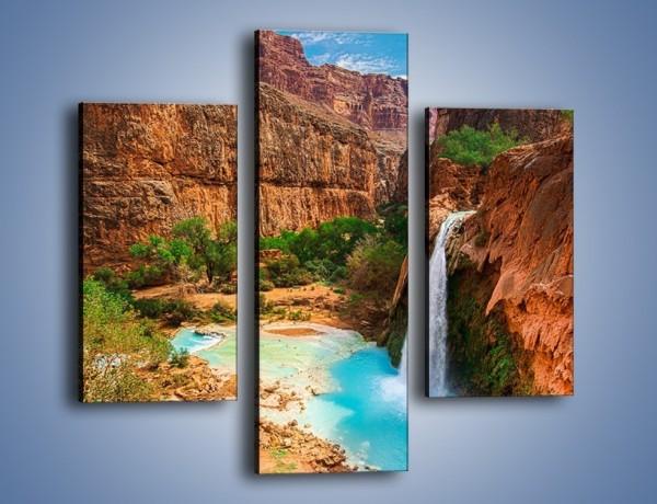 Obraz na płótnie – Kanion z błękitną wodą – trzyczęściowy KN1076W3