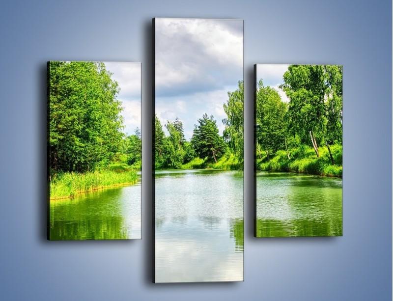 Obraz na płótnie – Spokojna woda i las – trzyczęściowy KN1086W3