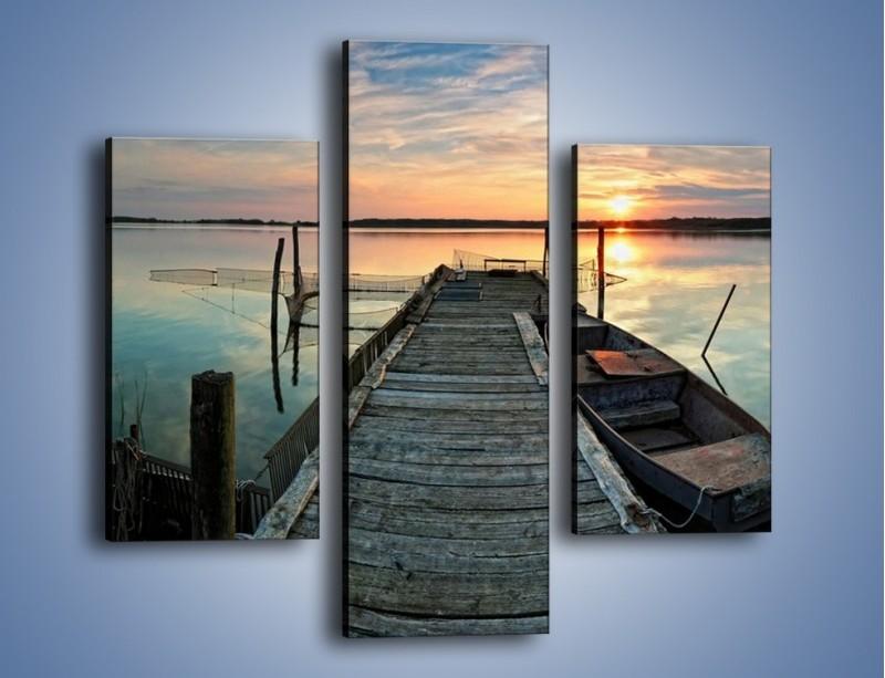 Obraz na płótnie – Stary most i łódź – trzyczęściowy KN1096AW3