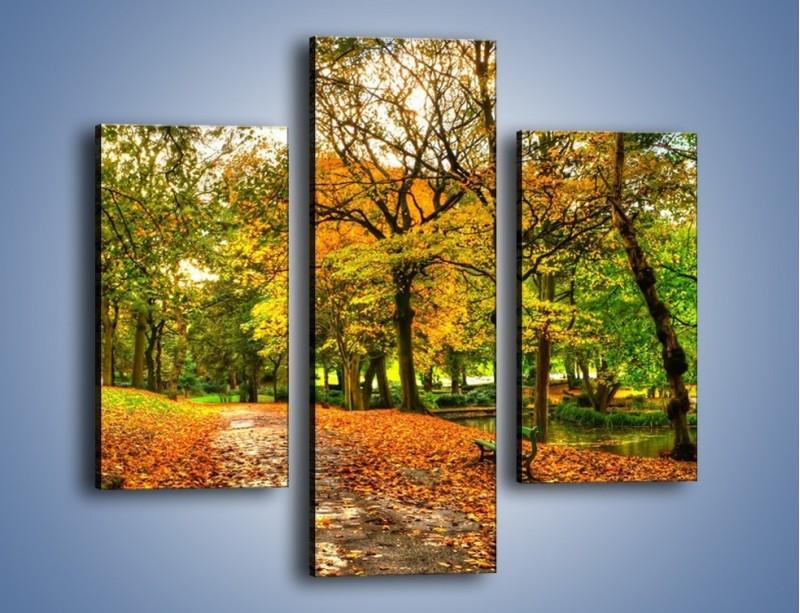 Obraz na płótnie – Piękna jesień w parku – trzyczęściowy KN1098AW3