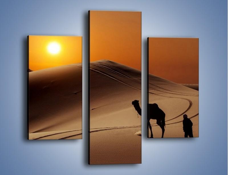 Obraz na płótnie – Człowiek wielbłąd i wydmy – trzyczęściowy KN1134AW3