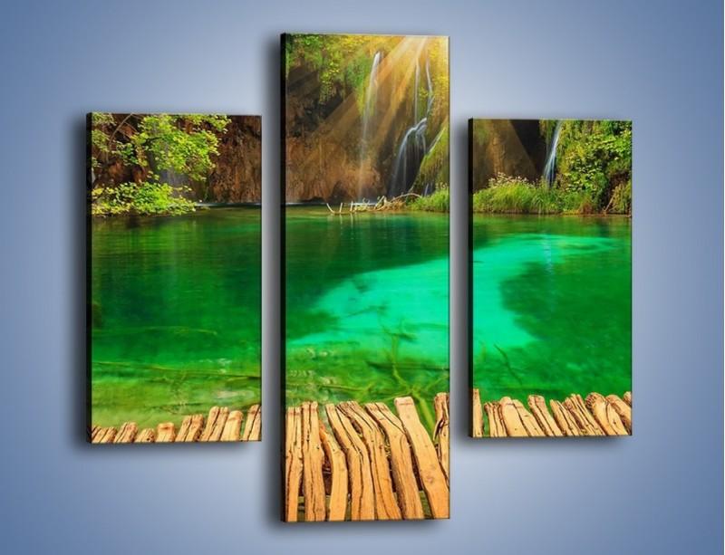 Obraz na płótnie – Zielone oczko wodne i drewno – trzyczęściowy KN1149AW3