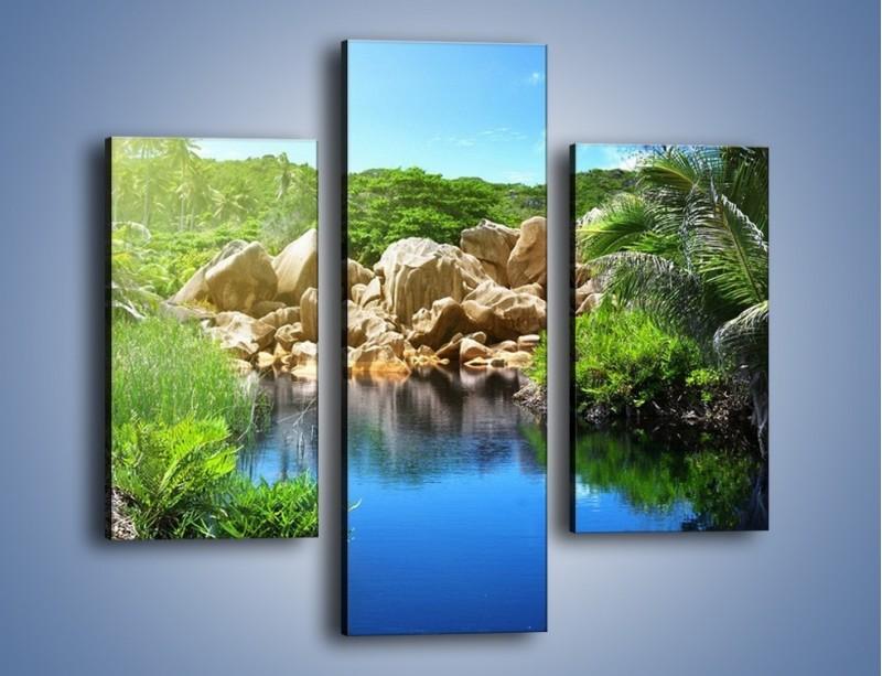 Obraz na płótnie – Wapienne skałki na wodzie – trzyczęściowy KN1188AW3