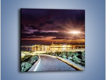 Obraz na płótnie – Błysk światła nad miastem wieczorową porą – jednoczęściowy kwadratowy AM063