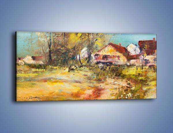 Obraz na płótnie – Wieś pędzlem malowana – jednoczęściowy panoramiczny GR614
