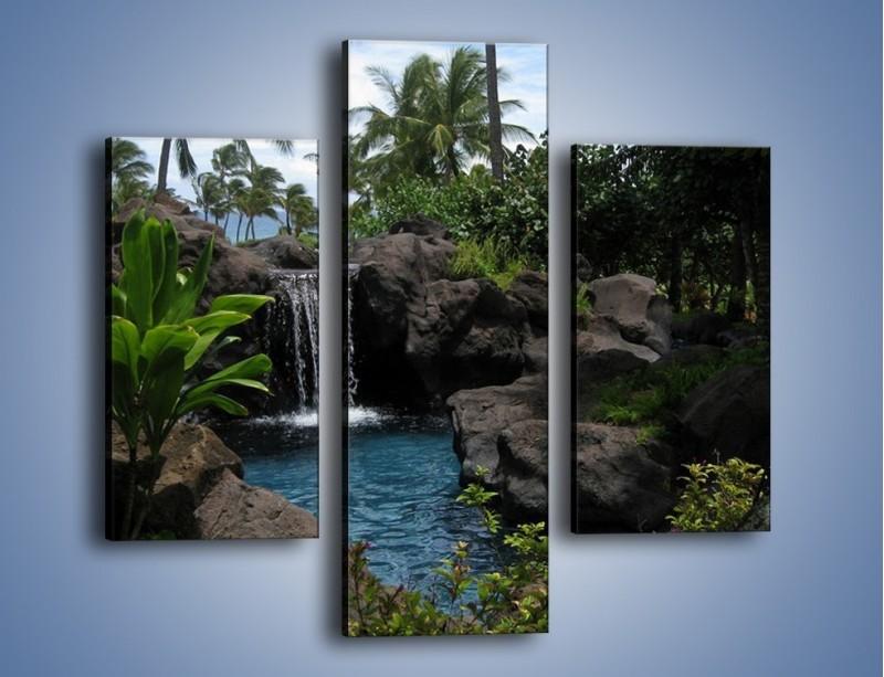 Obraz na płótnie – Wodospad wśród palm – trzyczęściowy KN208W3
