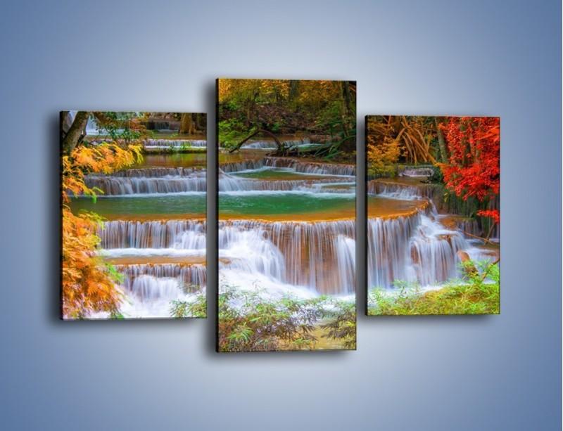 Obraz na płótnie – Schodki z wodospadów – trzyczęściowy KN287W3