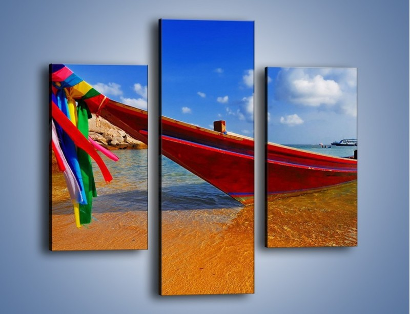 Obraz na płótnie – Kolorowa łódź na brzegu – trzyczęściowy KN415W3