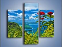 Obraz na płótnie – Bordowe kwiaty w górskim krajobrazie – trzyczęściowy KN561W3