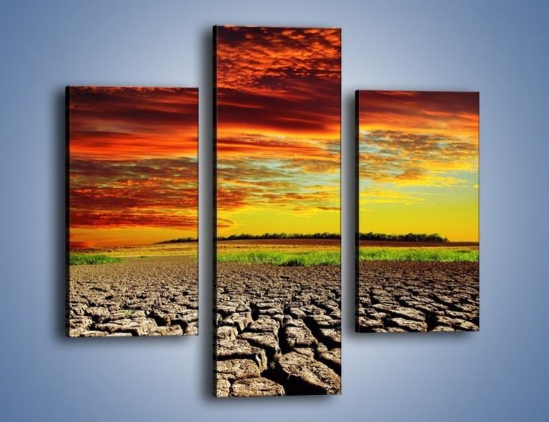 Obraz na płótnie – Spękane chmury i ziemia – trzyczęściowy KN602W3