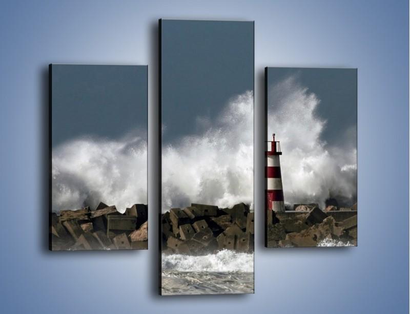 Obraz na płótnie – Latarnia morska w sztormie – trzyczęściowy KN626W3