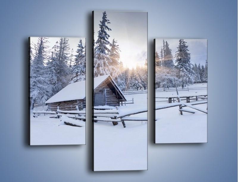 Obraz na płótnie – Chatka zatopiona w śniegu – trzyczęściowy KN696W3