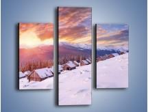 Obraz na płótnie – Chatka w śnieżnym dywanie – trzyczęściowy KN725W3