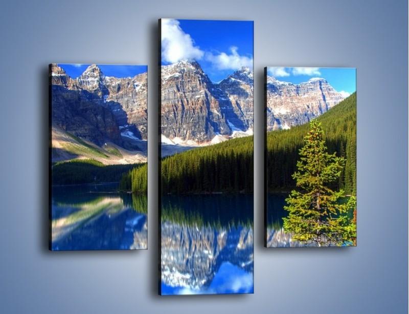 Obraz na płótnie – Góry i ich wodne odbicie – trzyczęściowy KN839W3