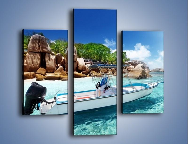 Obraz na płótnie – Błękit w wodzie i niebie – trzyczęściowy KN852W3