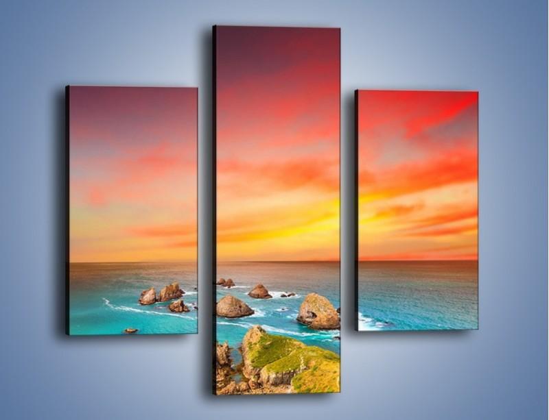 Obraz na płótnie – Kolory rozpalonego nieba nad wodą – trzyczęściowy KN879W3