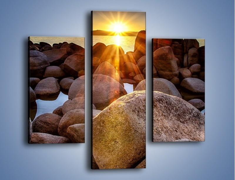 Obraz na płótnie – Kamienna wyspa w słońcu – trzyczęściowy KN888W3