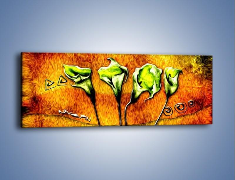 Obraz na płótnie – Zielone kalie w ogniu – jednoczęściowy panoramiczny GR635