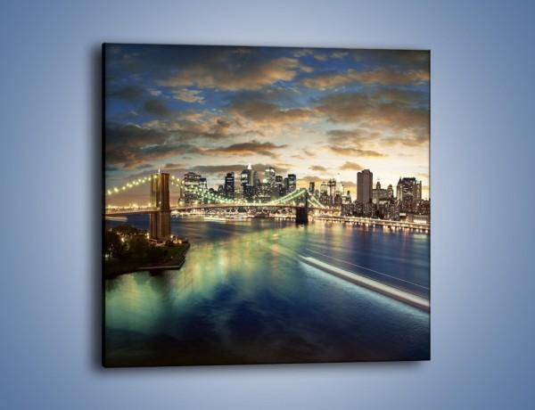 Obraz na płótnie – Oświetlony most w Nowym Jorku – jednoczęściowy kwadratowy AM066
