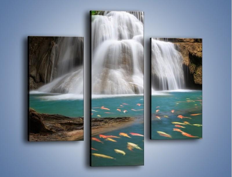 Obraz na płótnie – Wodospad i kolorowe rybki – trzyczęściowy KN994W3