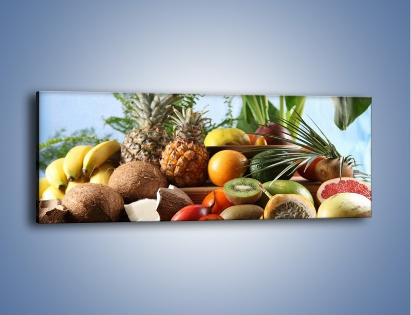 Obraz na płótnie – Mix owocowy na drewnianym stole – jednoczęściowy panoramiczny JN009
