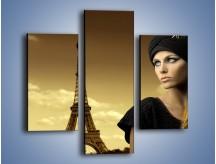 Obraz na płótnie – Czarna dama w paryżu – trzyczęściowy L114W3