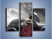 Obraz na płótnie – Dama pod parasolem – trzyczęściowy L139W3