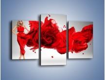 Obraz na płótnie – Czerwona róża i kobieta – trzyczęściowy L144W3