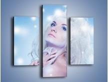 Obraz na płótnie – Biała dama i światełka – trzyczęściowy L318W3