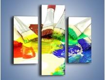 Obraz na płótnie – Kolory pędzlem malowane – trzyczęściowy O046W3