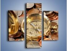 Obraz na płótnie – Kompas zatopiony w monetach – trzyczęściowy O089W3
