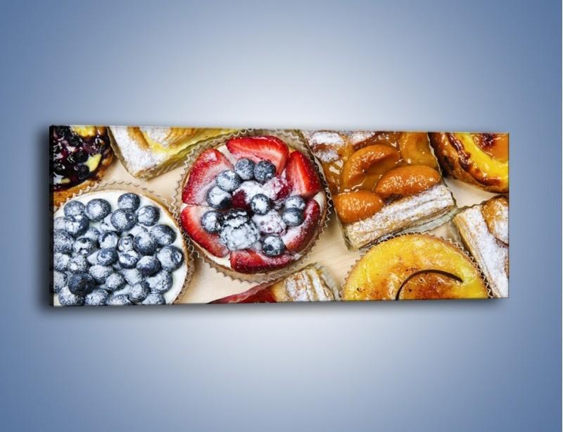 Obraz na płótnie – Kolorowe wypieki z dodatkiem owoców – jednoczęściowy panoramiczny JN032