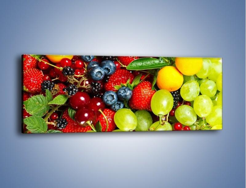 Obraz na płótnie – Wymieszane kolorowe owoce – jednoczęściowy panoramiczny JN037