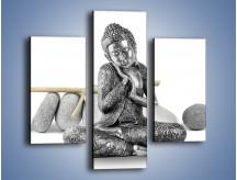 Obraz na płótnie – Budda wśród szarości – trzyczęściowy O220W3