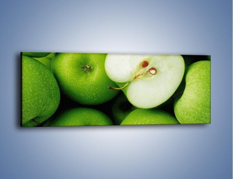 Obraz na płótnie – Zielone jabłuszka – jednoczęściowy panoramiczny JN039