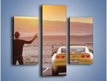 Obraz na płótnie – Chevrolet Camaro na pustynnej drodze – trzyczęściowy TM080W3