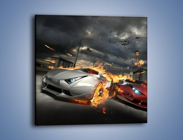 Obraz na płótnie – Wyścig w płomieniach – jednoczęściowy kwadratowy GR524