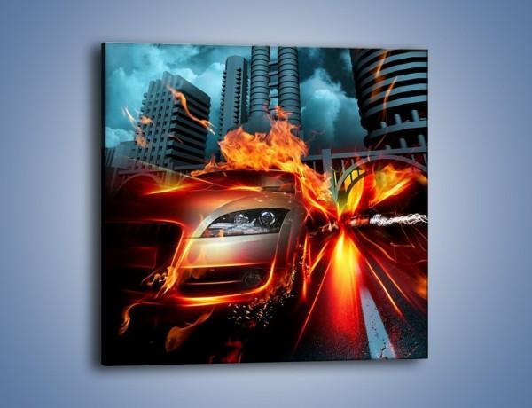 Obraz na płótnie – Ogień z rozpędzonego auta – jednoczęściowy kwadratowy GR525