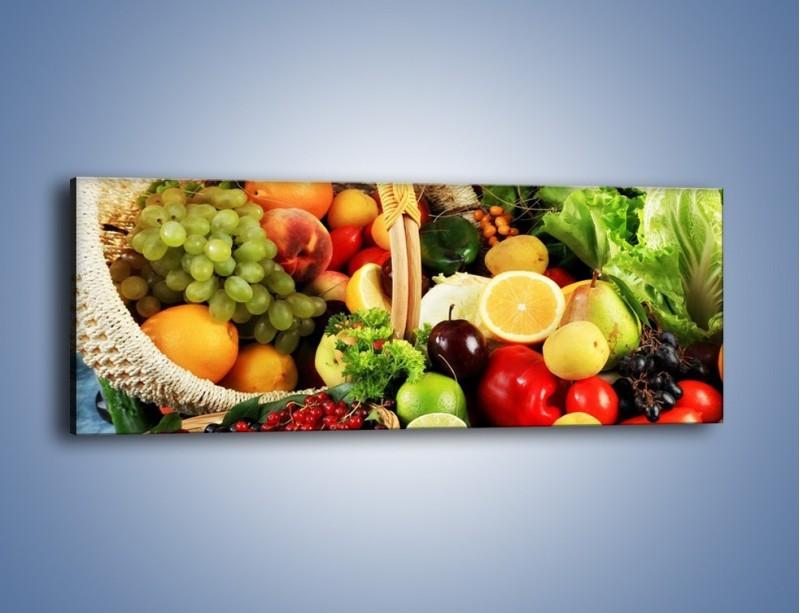 Obraz na płótnie – Kosz pełen owocowo-warzywnego zdrowia – jednoczęściowy panoramiczny JN059