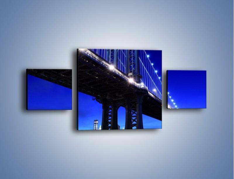 Obraz na płótnie – Oświetlony most wieczorem – trzyczęściowy AM003W4