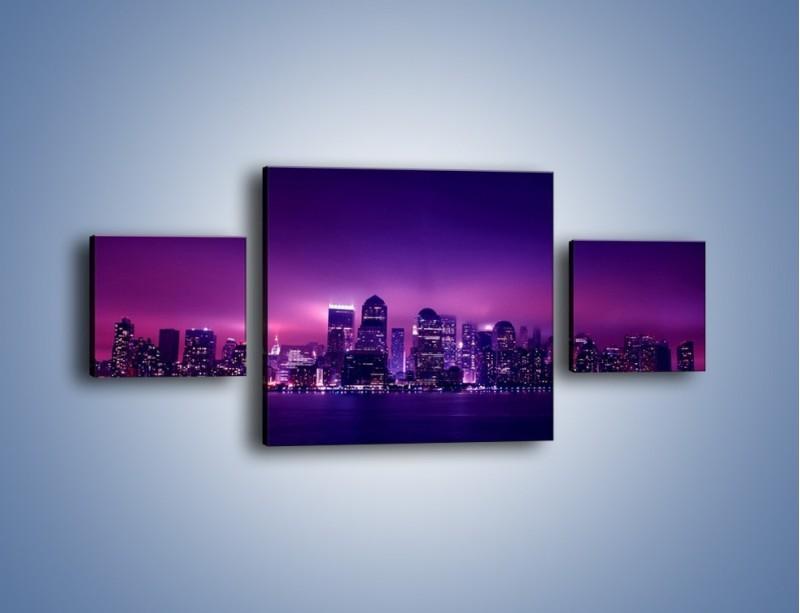 Obraz na płótnie – Wieżowce w odcieniach fioletu – trzyczęściowy AM008W4