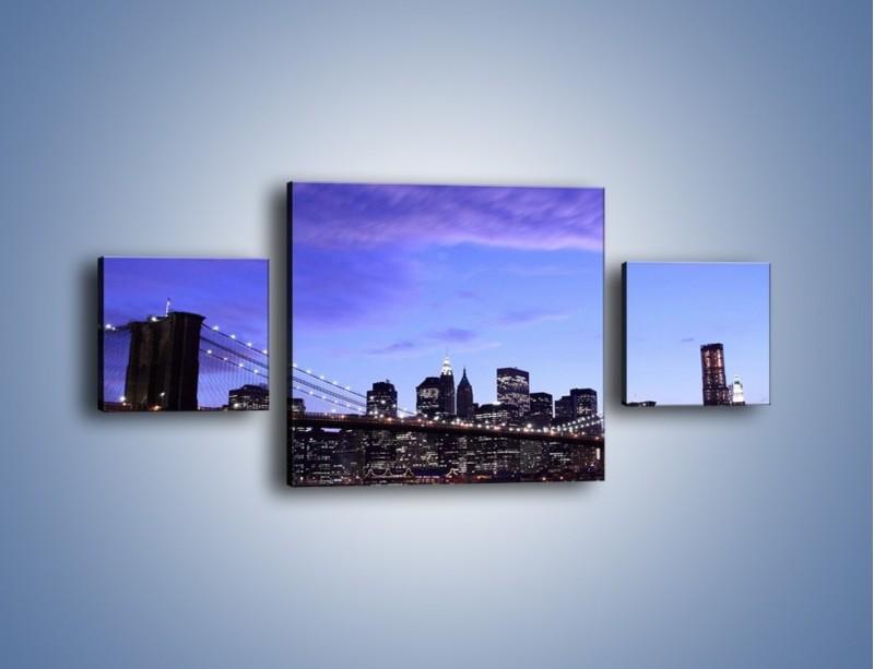 Obraz na płótnie – Most Brookliński przed zmierzchem – trzyczęściowy AM016W4