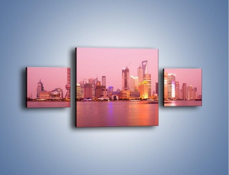 Obraz na płótnie – Miasto o poranku w odcieniach różu – trzyczęściowy AM020W4
