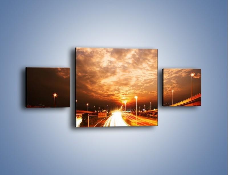 Obraz na płótnie – Oświetlona autostrada w ruchu – trzyczęściowy AM021W4