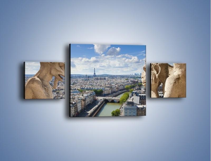 Obraz na płótnie – Kamienne gargulce nad Paryżem – trzyczęściowy AM037W4