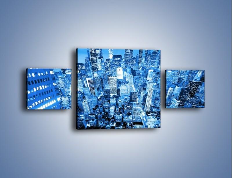 Obraz na płótnie – Centrum miasta w niebieskich kolorach – trzyczęściowy AM042W4