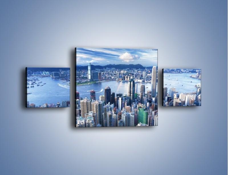 Obraz na płótnie – Miasto portowe o poranku – trzyczęściowy AM050W4