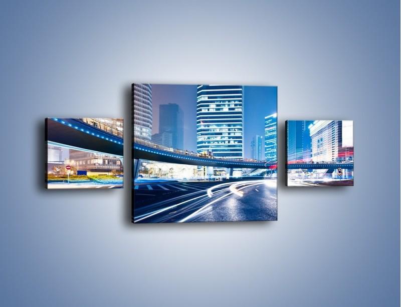 Obraz na płótnie – Wieczorny ruch uliczny w centrum miasta – trzyczęściowy AM051W4